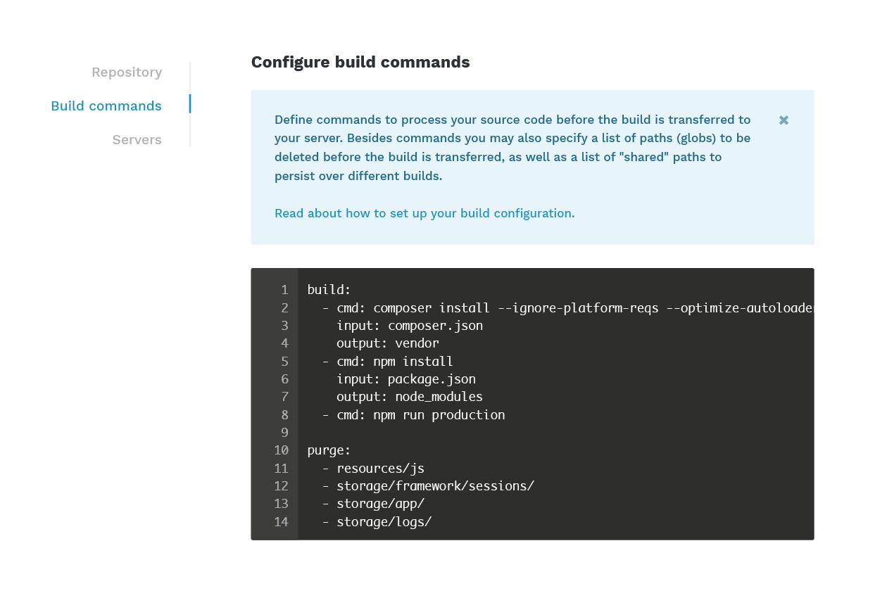 Build commands Laravel app automation